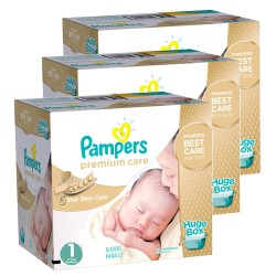 Pack jumeaux 616 Couches Pampers New Baby Premium Care taille 1