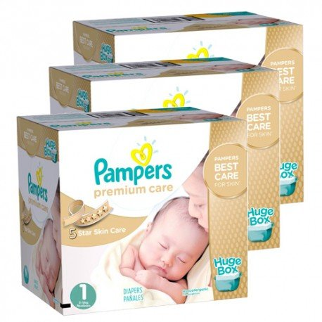 Pack jumeaux 616 Couches Pampers New Baby Premium Care taille 1 sur Couches Zone