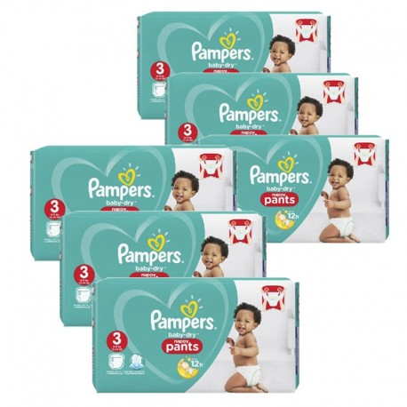 Pack 52 Couches Pampers Baby Dry Pants taille 3 sur Couches Zone