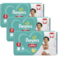 Mega pack 182 Couches Pampers Baby Dry Pants taille 3 sur Couches Zone