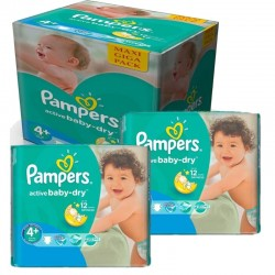 Pack jumeaux 720 Couches Pampers Active Baby Dry taille 4+ sur Couches Zone