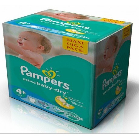 Pack jumeaux 760 Couches Pampers Active Baby Dry taille 4+ sur Couches Zone