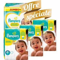 Pack jumeaux 504 Couches Pampers New Baby Premium Protection taille 4+ sur Couches Zone
