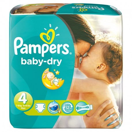 Pack 34 Couches Pampers Baby Dry taille 4 sur Couches Zone