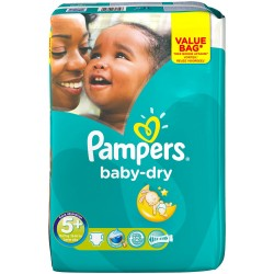 Pack 22 Couches Pampers Baby Dry taille 5+