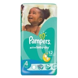 Pack 17 Couches Pampers Active Baby Dry taille 4 sur Couches Zone