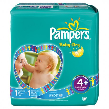 Pack 80 Couches Pampers Baby Dry taille 4+ sur Couches Zone