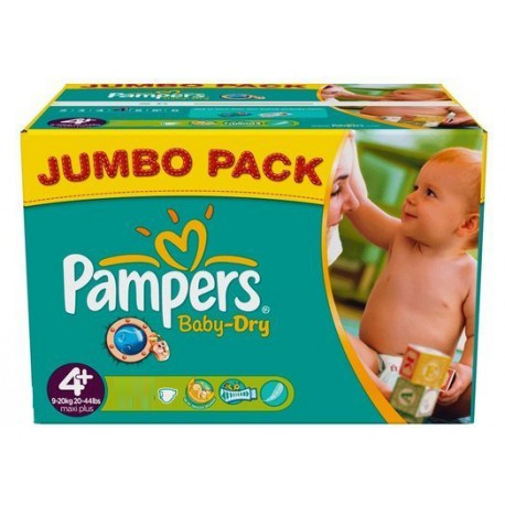 Maxi mega pack 480 Couches Pampers Baby Dry taille 4+ sur Couches Zone