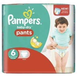 Pack 28 Couches Pampers Baby Dry Pants taille 6 sur Couches Zone