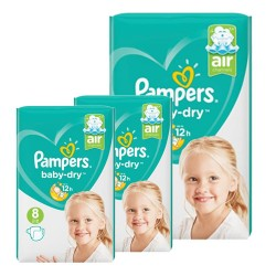 Mega pack 120 Couches Pampers Baby Dry taille 8 sur Couches Zone