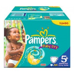 Giga pack 204 Couches Pampers Baby Dry taille 5+ sur Couches Zone