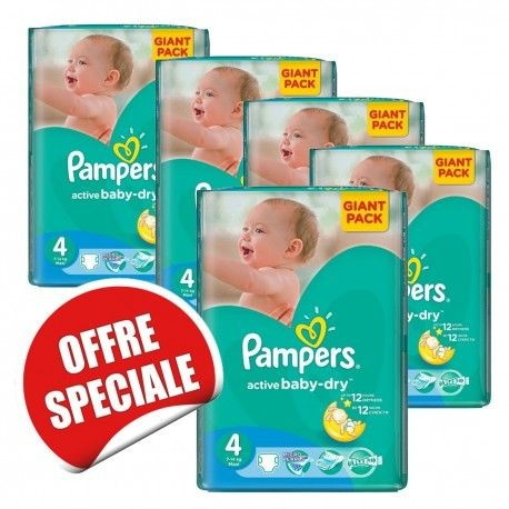 260 Couches Pampers Active Baby Dry taille 4 sur Couches Zone