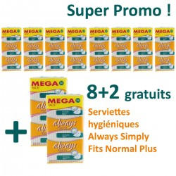 Simply Fits - Maxi Pack 360 Serviettes hygiéniques d'Always - 10 Packs de 36 Serviettes hygiéniques taille normal plus sur Couches Zone