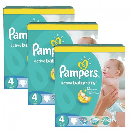 Maxi mega pack 442 Couches Pampers Active Baby Dry taille 4 sur Couches Zone