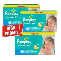 Mega pack 187 Couches Pampers Active Baby Dry taille 5 sur Couches Zone