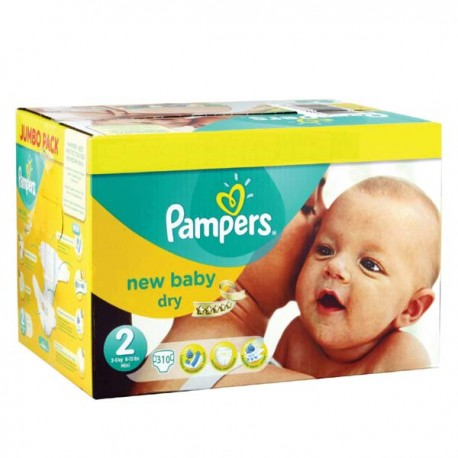 Maxi giga pack 328 Couches Pampers New Baby Premium Protection taille 2 sur Couches Zone