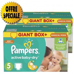 Maxi giga pack 341 Couches Pampers Active Baby Dry taille 5 sur Couches Zone