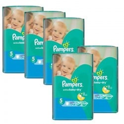 Maxi giga pack 385 Couches Pampers Active Baby Dry taille 5 sur Couches Zone