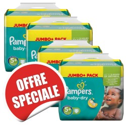 Mega pack 100 Couches Pampers Baby Dry taille 5+ sur Couches Zone