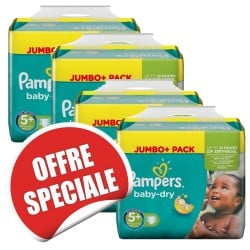 Maxi mega pack 400 Couches Pampers Baby Dry taille 5+ sur Couches Zone