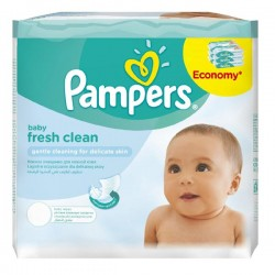 Fresh Clean - Maxi Pack de 384 Lingettes Bébés de Pampers - 6 Packs de 64 sur Couches Zone