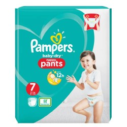 Pack 21 Couches Pampers Baby Dry Pants taille 7 sur Couches Zone