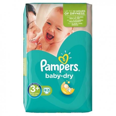 Baby Dry - Pack de 82 Couches Pampers taille 3+ sur Couches Zone