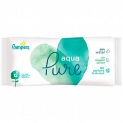 Pack 12 Lingettes Bébés Pampers Aqua Pure sur Couches Zone