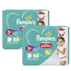 Pack 68 Couches Pampers Baby Dry Pants taille 5+ sur Couches Zone