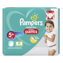 Pack 34 Couches Pampers Baby Dry Pants taille 5+ sur Couches Zone