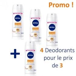 Stress Protect - Pack de 4 Deodorants Nivea - 4 au prix de 3 taille Pocket sur Couches Zone