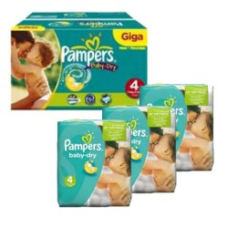 Giga pack 240 Couches Pampers Baby Dry taille 4 sur Couches Zone