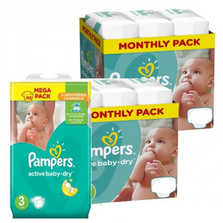 Mega pack 174 Couches Pampers Active Baby Dry taille 3 sur Couches Zone