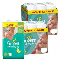 Maxi mega pack 406 Couches Pampers Active Baby Dry taille 3