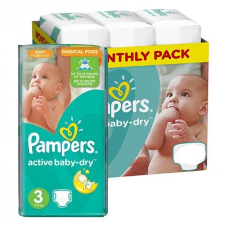 Pack jumeaux 580 Couches Pampers Active Baby Dry taille 3 sur Couches Zone