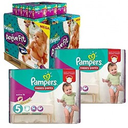 Mega pack 187 Couches Pampers Active Fit Pants taille 5 sur Couches Zone