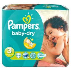 Baby Dry - Pack 34 Couches Pampers taille 3