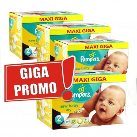 Maxi giga pack 304 Couches Pampers New Baby Dry taille 2 sur Couches Zone