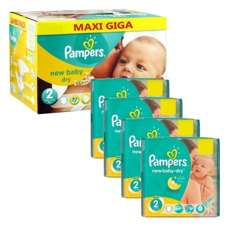 Maxi giga pack 380 Couches Pampers New Baby Dry taille 2 sur Couches Zone