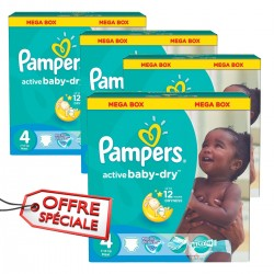 Maxi giga pack 350 Couches Pampers Active Baby Dry taille 4 sur Couches Zone