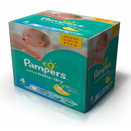 Maxi mega pack 490 Couches Pampers Active Baby Dry taille 4 sur Couches Zone
