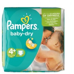 Pack 31 Couches Pampers Baby Dry taille 4+ sur Couches Zone