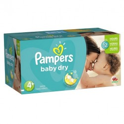 Pack 93 Couches Pampers Baby Dry taille 4+ sur Couches Zone
