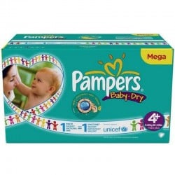 Mega pack 155 Couches Pampers Baby Dry taille 4+ sur Couches Zone