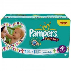 Maxi mega pack 496 Couches Pampers Baby Dry taille 4+ sur Couches Zone