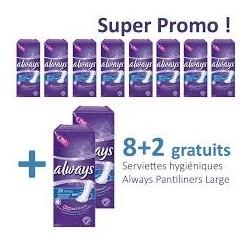 Pantiliners - Pack économique de 260 Serviettes hygiéniques Always - 10 Packs de 26 Serviettes hygiéniques taille Large