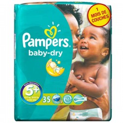 Baby Dry - Pack 35 Couches de Pampers taille 5+
