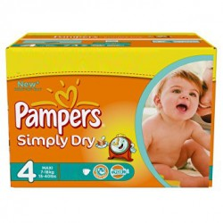 Simply Dry - Maxi Pack de 240 Couches Pampers taille 4 sur Couches Zone