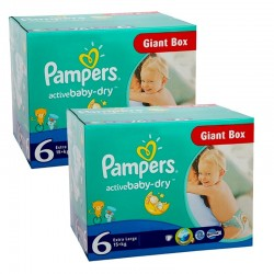 Pack 48 Couches Pampers Active Baby Dry taille 6 sur Couches Zone
