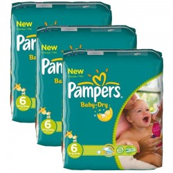 Pack jumeaux 608 Couches Pampers Baby Dry taille 6 sur Couches Zone